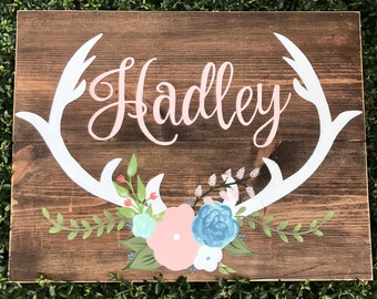 Made to order name wood sign with deer antlers and flowers