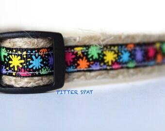 "Paint Splatter Dog Collar, Colorful Dog Collar, 5/8"" wide Dog Collar, Adjustable Collar, Pet Collar, Collar"