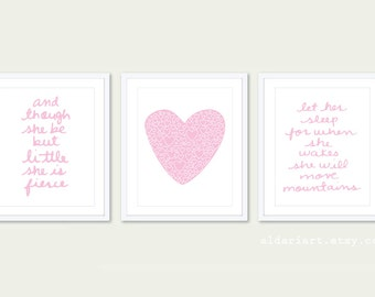 Girl Nursery Prints - Set of 3 prints - And Though She Be But Little She Is Fierce - Let Her Sleep Print - Heart Print - Custom Color