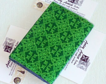 Irish theme ID wallet gift card holder business card Celtic design green on green reuse vegan earth friendly