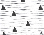 Navy Charcoal and White Shark Fin Wave 4 Way Stretch Jersey Knit Fabric, Modern Maritime Corinne Wells for Club Fabrics, Shark Surf, 1 Yard
