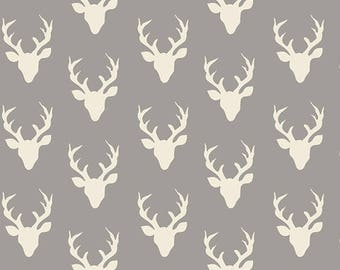 Tiny Grey and Cream Deer Head Antler Jersey Knit Fabric, Hello Bear by Bonnie Christine for Art Gallery Fabrics, 1 yard Jersey KNIT