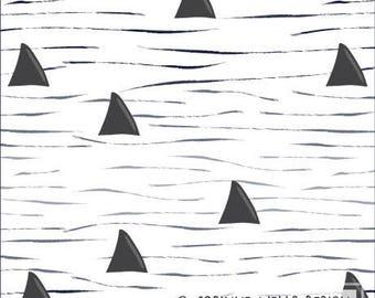 Navy Charcoal and White Shark Fin Wave 4 Way Stretch Jersey Knit Fabric, Modern Maritime Corinne Wells for Club Fabrics, Shark Surf, 1 Yard