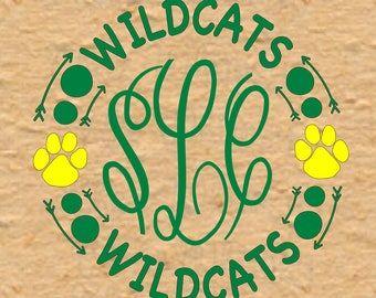 Wildcats SVG Design, Wildcats Circle SVG, Arrow Monogram, Paw Print Svg Circle Design, Circle Monogram Frame with Paw Prints and Arrows
