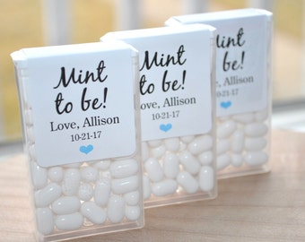 Bridal Shower Favors, Tic Tac Labels Mint To Be, Wedding Favors, Bachelorette Party, Personalized Engagement Mint Favors - Set of 24 Labels