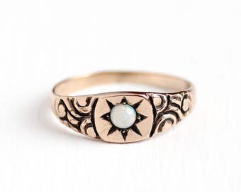 Antique 10k Rose Gold Opal Star Ring - Vintage Early 1900s Size 3 3/4 Victorian Edwardian Star Incised Gemstone Fine Art Nouveau Jewelry