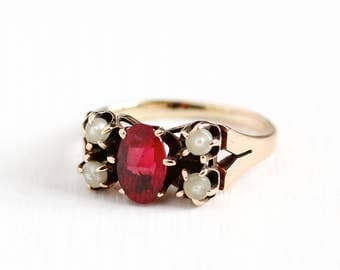 Antique Victorian 10k Rosy Yellow Gold Garnet Doublet & Seed Pearl Ring - Size 3 1/2 Vintage Late 1800s Red Gemstone Fine Jewelry