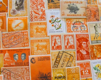 Shades of Orange 100 Vintage Postage Stamps Peach Nectarine Tangerine Citrus Lemon Yellow Gold Rust Scrapbooking US Worldwide Philately 2