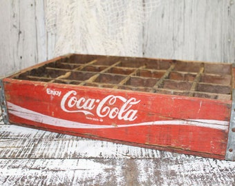 Red Coca Cola Crate, Wood Coke Box, Vintage Cocacola, Coke Crate