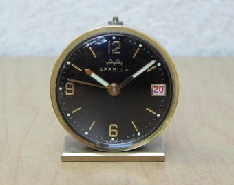 Petite Apella Swiss Brass and Black Alarm Clock with Date