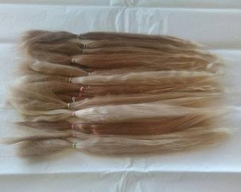 Long Hair / BJD / MSD / Combed Doll Hair / Re root / Combed Suri Alpaca / Wig / Blonde / Supplies (667)