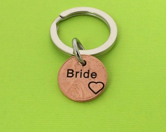 Bride Keychain -  Wedding Gift - Personalized Keychain - Her Day - Hand Stamped -  Keychain - Wedding - Friend - Bridesmaid - Maid of Honor