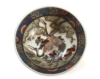 Vintage Japanese Porcelain Ware Bowl Hand Decorated and Painted in Macau - Decor Piece - Pair of Cranes
