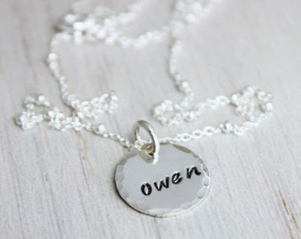 """one 1/2"""" name disc necklace, 1 name stamped, new mommy necklace, mothers necklace, stamped name necklace, new mom gift, push present"""