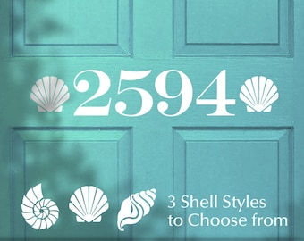 Outdoor Beach Decor Custom House Number Removable Vinyl Door Decal, Seashell Accents (0173a21v-r6)