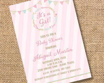 Pink Mint Floral Bunting Banner Invitation Pink Gold Sparkle Glitter Printable Invitation It's a Girl Baby Shower Invite Bunting Banner