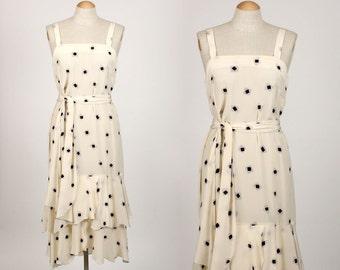 vintage handpainted SILK dress • 1990s feather light black & white dress