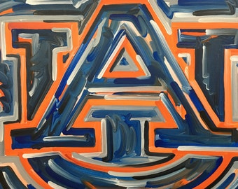 24x30 Officially Licensed Auburn University Painting Justin Patten Art College Football Basketball War Eagle Aubie Iron Bowl Tiger Walk