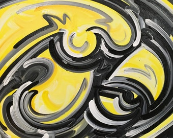 30x24 Officialy Licensed University of Iowa Painting by Justin Patten Herky Hawkeye Sports Art College Baseball Football Basketball