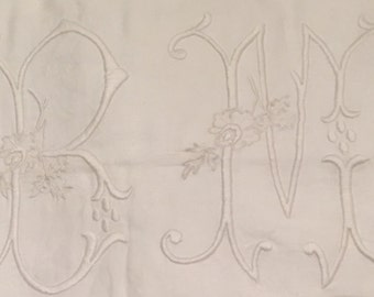 Vintage French Damask Embroidered Monogram Duvet