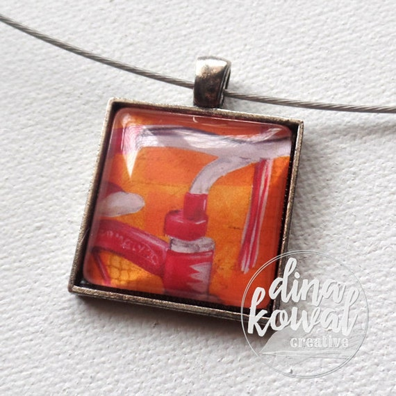 Vintage Tricycle - domed glass tile pendant necklace