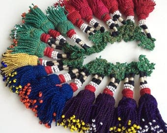 18 BEADED color tassels beaded silk belly dance turkish asian fabric textile vintage