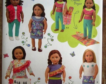 18 inch Doll Clothes: Shirt, Skirt, Pants, Top and Bag Simplicity Pattern 1513 UNCUT