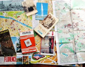 European City Maps/Bundle of +10 Vintage Collectible French Postcards/ Old Europe Maps/Paper Ephemera Supplies/