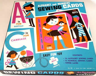 Sewing Cards Alphabet and Numbers Vintage