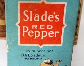 Antique Red Pepper Box Slade's of Boston