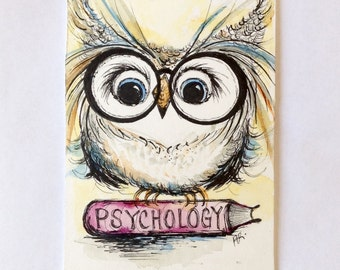 Owl Art, Original Pen and Ink Drawing with Watercolor, Professor Owl, Classroom, Psychology, 5x7 Painting