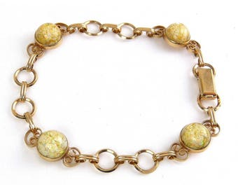 1950's Van Dell Gold-Filled Floating Opals Link Bracelet
