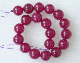 Beautiful Rose Red Jade Smooth Round Beads 18mm - 19 Pcs, 13 Inches