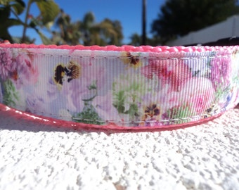 "Sale Girl Dog Collar Pastel Floral 1"" wide Quick Release or Martingale collar style adjustable / no 3/4"" width in this collar"