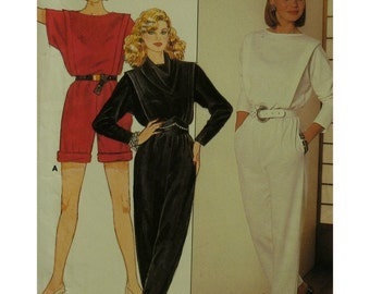 Woman's Jumpsuit Pattern, Romper, Bateau Neck, Cut-on Sleeves, Tapered Pants, Short Sleeves, Butterick 6703 UNCUT Size 8 10 12 OR 14 16 18