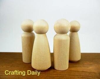 Wood Peg Doll People Man Woman Bride Groom Set of 4
