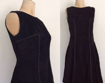 20% OFF 1960's Black Corduroy Drop Waist Fit & Flare Vintage Dress Size Small by Maeberry Vintage