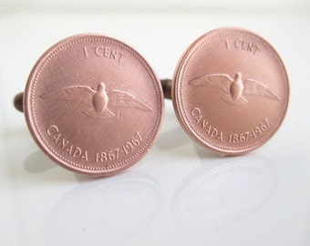 Canada Coin Cuff Links - Canadian Centennial Penny w/ Dove, Repurposed Coins