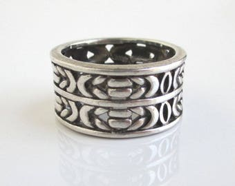 Heavy 925 Sterling Silver Men's Ring - Vintage Wide Band, Size 11 1/2