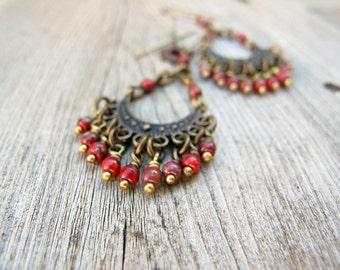Bohemian Chandelier Earrings, Long Chandeliers, Czech Glass Jewelry, Bohemian Bijoux, Boho Hippie Chic, Festival Fashion, Dark Red Dangles