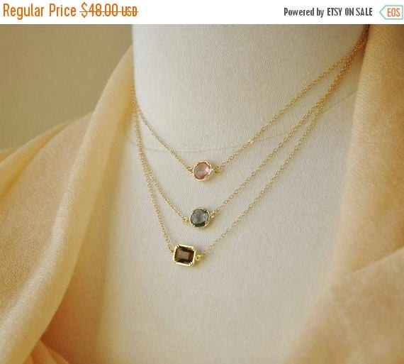 Mothers Day SALE Gold Crystal Necklace - Layered Necklace/ Dainty Necklace/Feminine Necklace