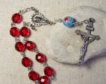 handmade Catholic pocket rosary tenner with Czech fire polish red glass beads in silver