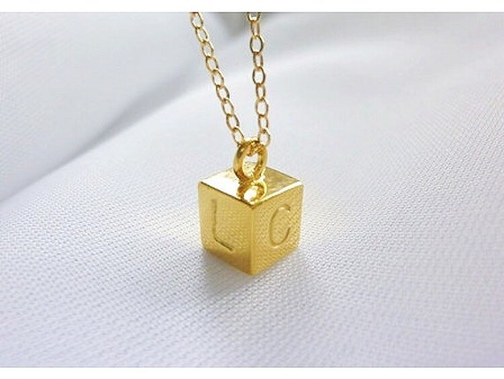 Cube Necklace,Gold Initial Necklace,4 Sided Bar Necklace,Initial Bar Necklace,Double Sided Bar Necklace,Personalized Bar Necklace-MomentusNY
