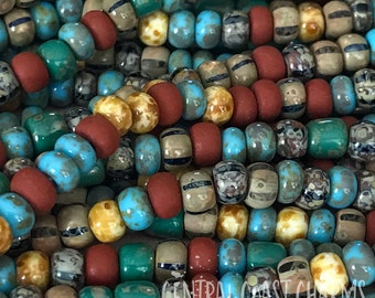 """Tribal Feather - Aged Striped 6/0 Czech Glass Rocaille Seed Beads - 20"""" strand - 4mm - Bohemian Mix Opaque Picasso - Central Coast Charms"""