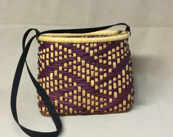 Small Hand Woven Twill Purse, Rectangular Wood Base, Oval Top Opening, Black Accents