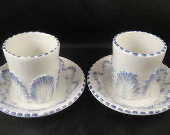 Espresso for Two - White and Blue Ceramic Cups and Saucers Made in Italy for Saks