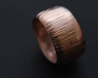 CO1009 - Copper Synclastic Ring, Textured, 7th Anniversary.