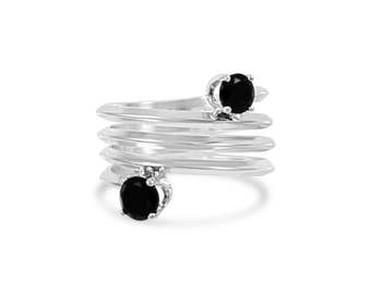 Onyx Spring Ring , Wrap Band Double Gemstone Ring Size 5 - 9.5