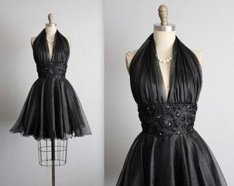 80's Prom Dress // 80's Black Rhinestone Organza Halter Cocktail Party Full Circle Dress XS
