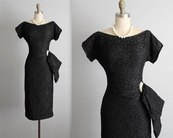 50's Cocktail Dress // Vintage 1950's Draped Black Lace Rhinestone Fitted Cocktail Party Dress S